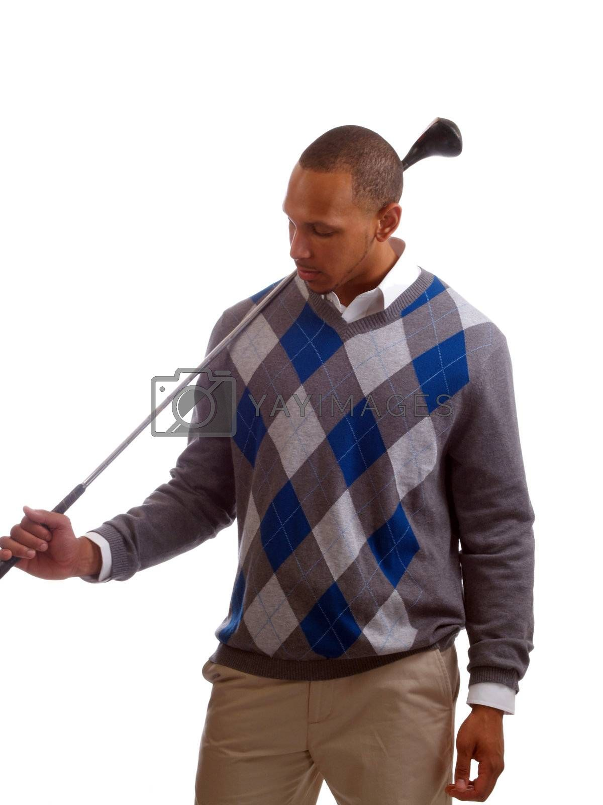 Young black man holding golf club over shoulder