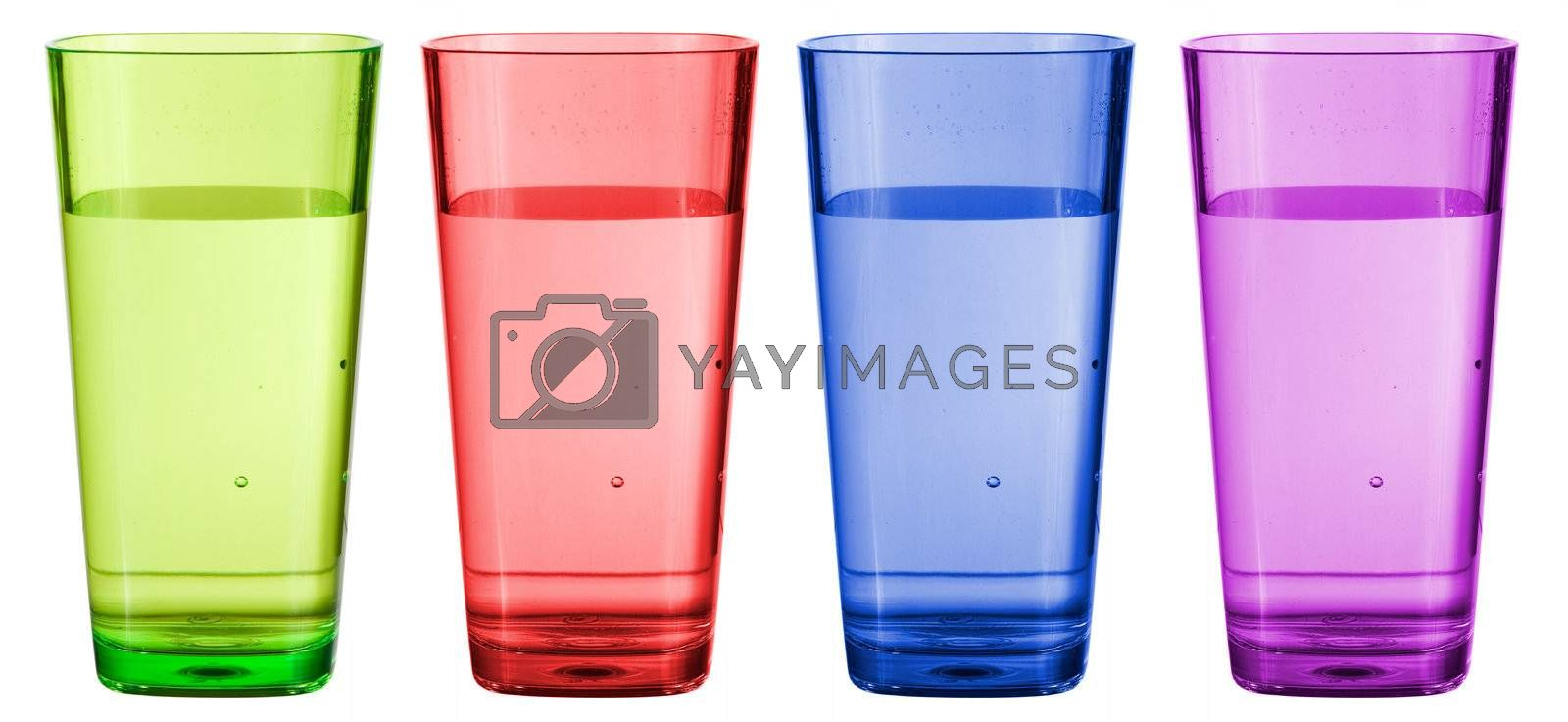 A set of colorful plastic cups isolated on white.