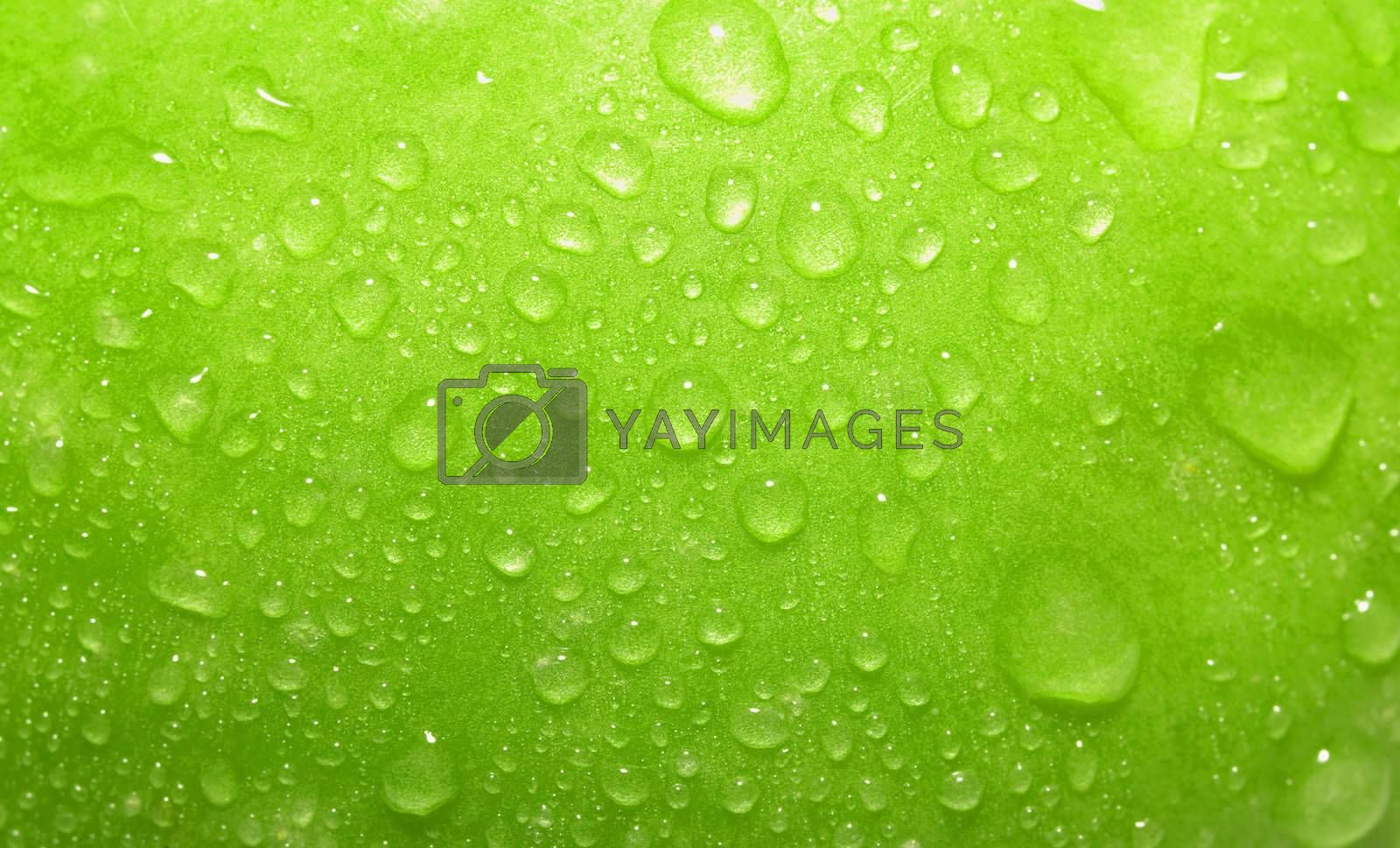 Close-up green apple with waterdrops