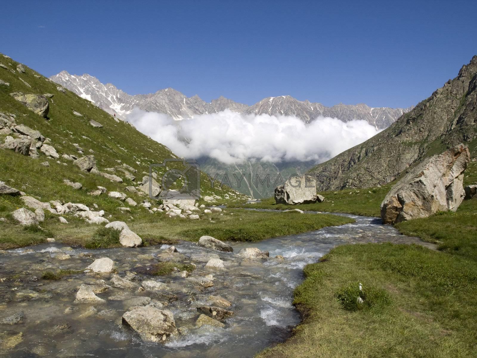 Mountains and river. Caucasus. Kabardino-Balkariya. Bezengi