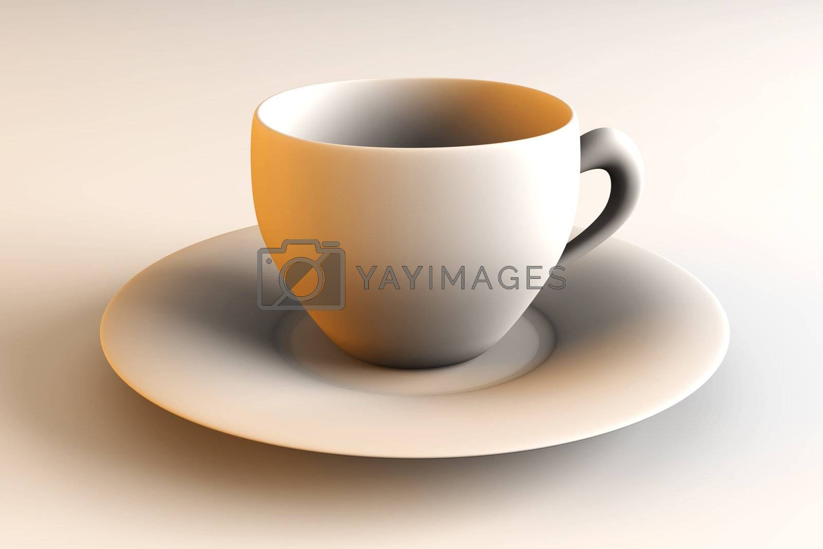 3D rendered Illustration. A red coffee or tea cup.