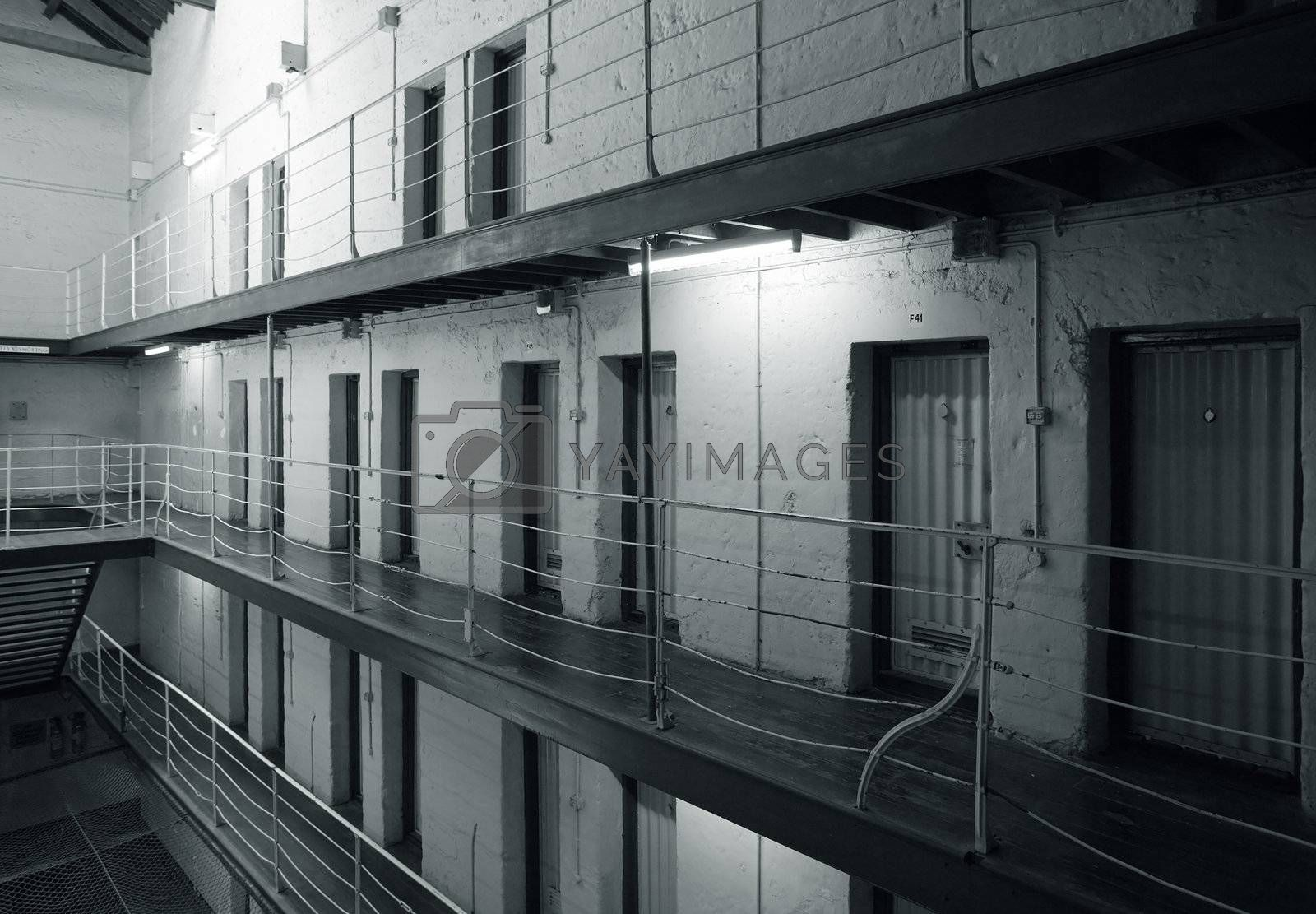 View of prison cell blocks.