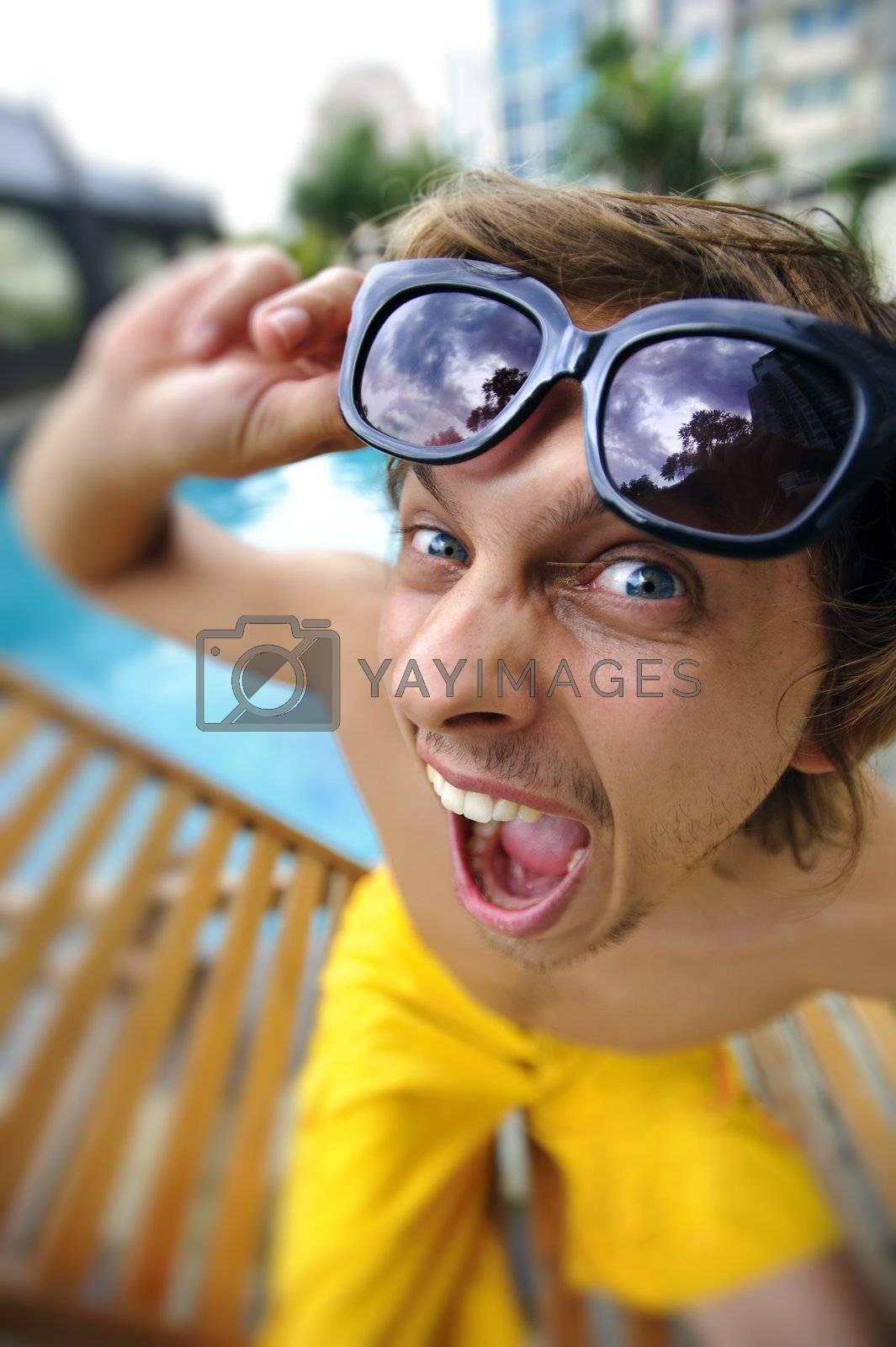 Close up portrait of a man making a face