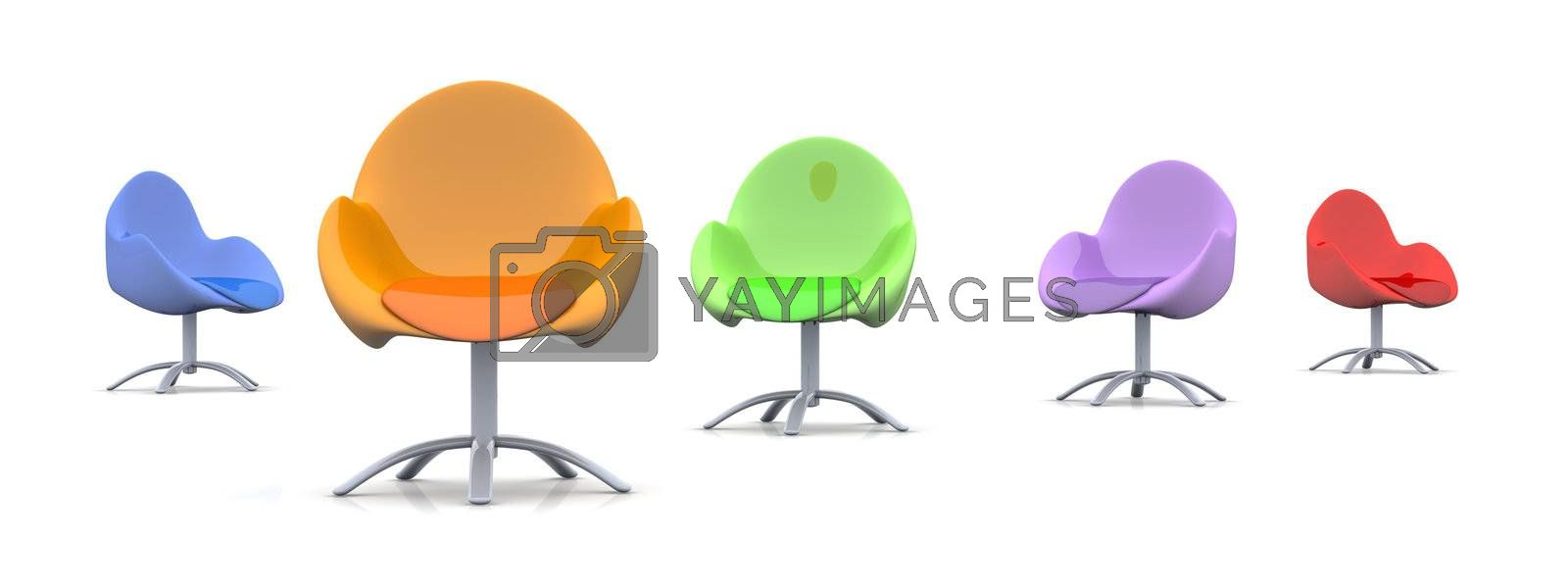 3D rendered Illustration. A group of chairs.