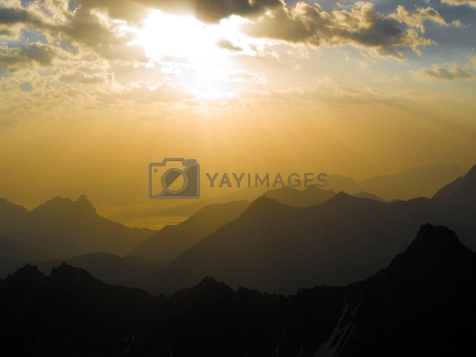 Beautiful sunrise in mountains. Caucasus. Kabardino-Balkariya. Bezengi
