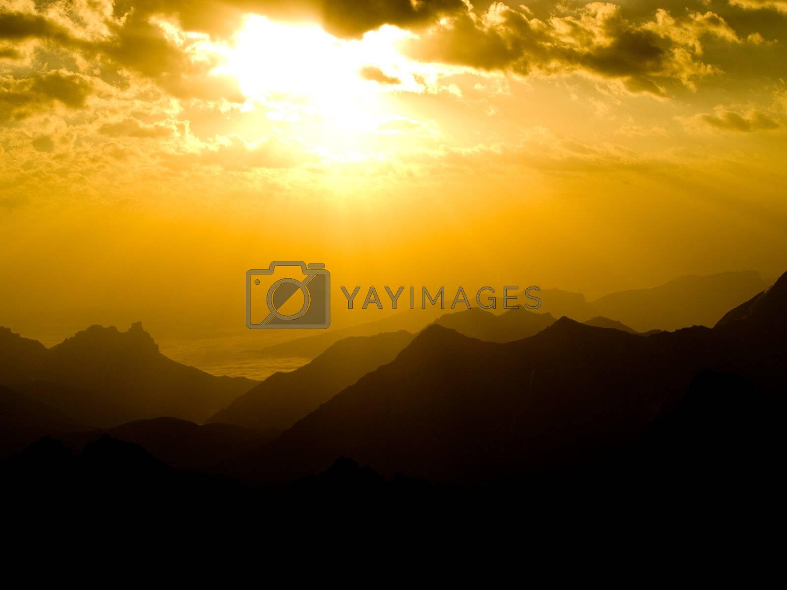 Beautiful sunset in mountains. Caucasus. Bezengi