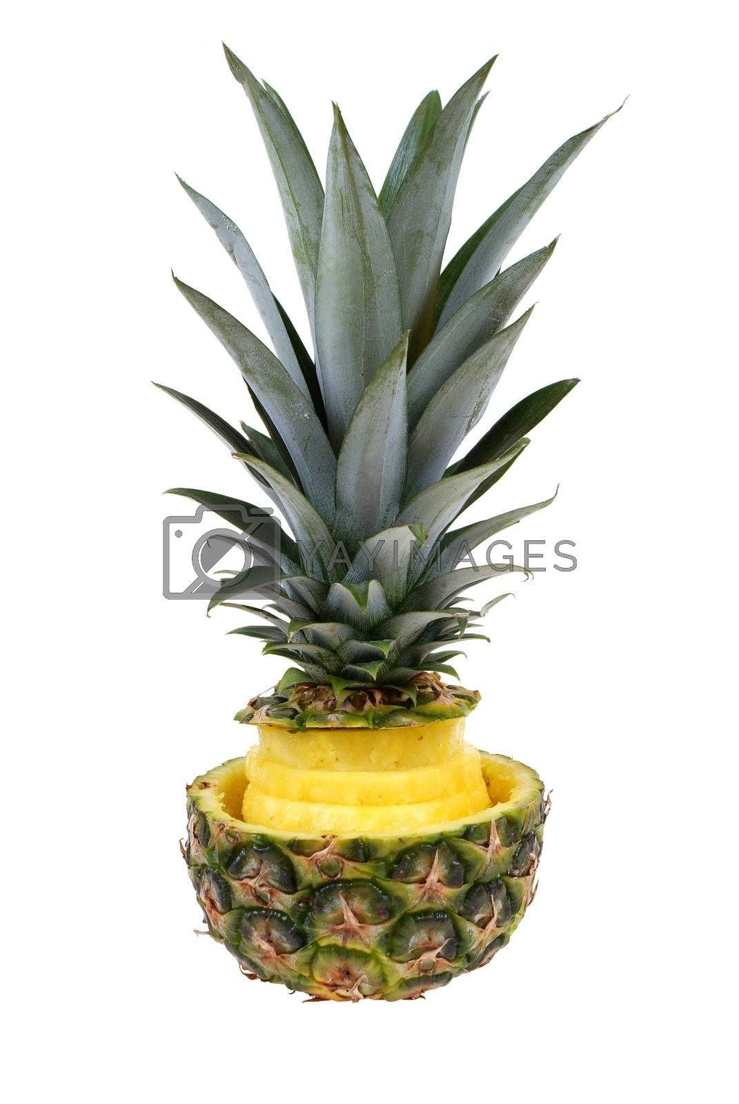 pineapple with discs in shell with leafs isolated on white background