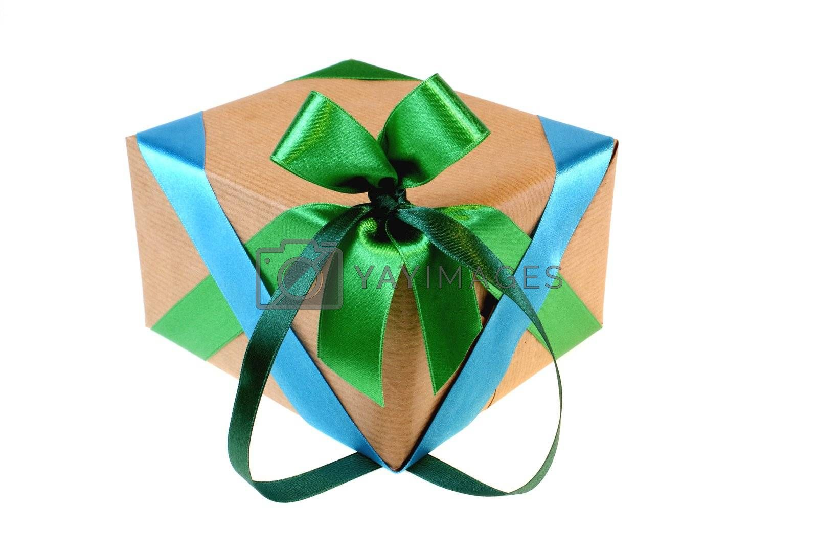 grey package with colourful ribbons isolated on white background