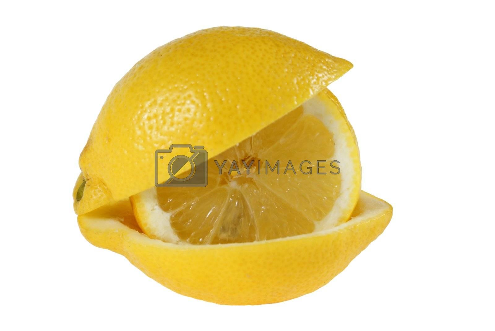 lemon's slice is put in peel isolated on white background