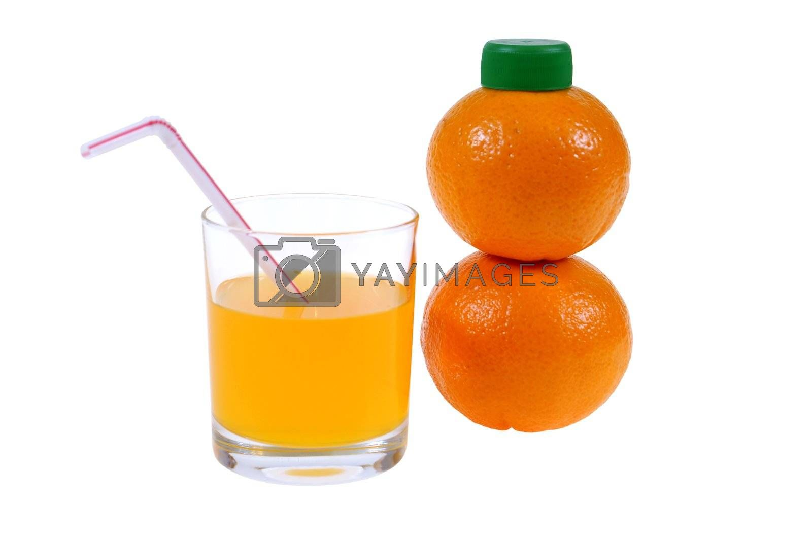bottle made of orange and glass with juice isolated on white background