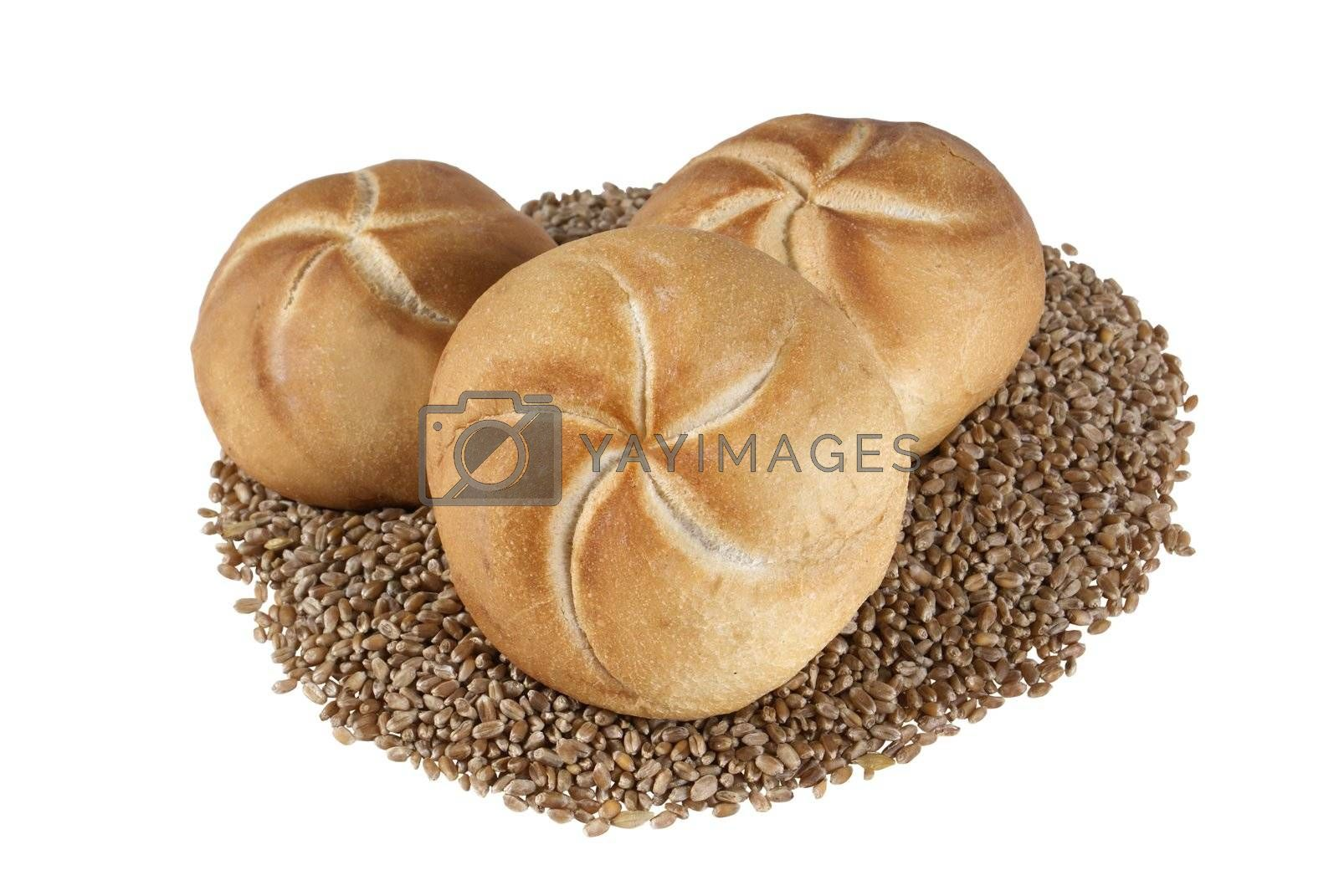 fresh roll on wheat's grain isolated on white background