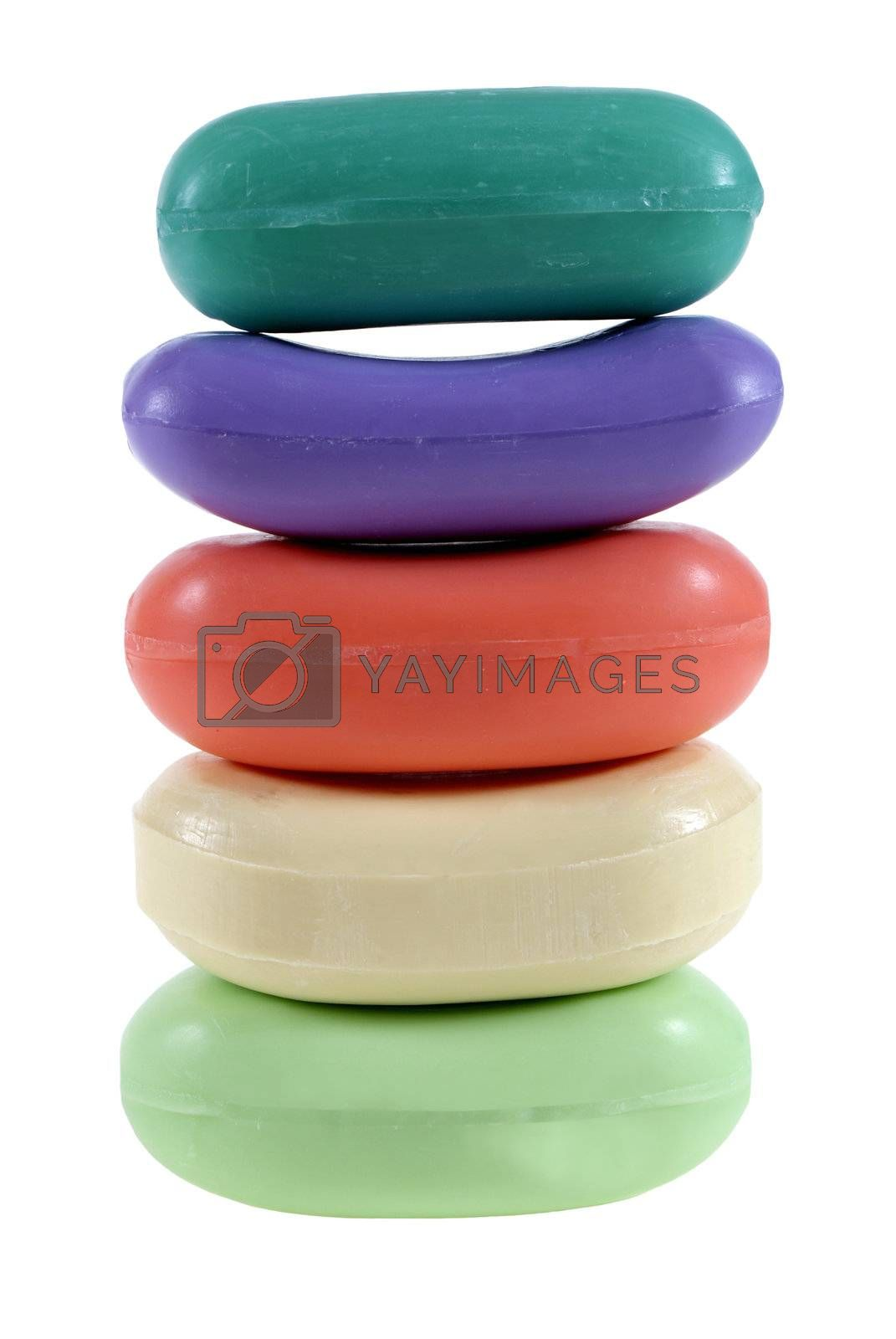 colourful soap arranged in pyramid isolated on the white background