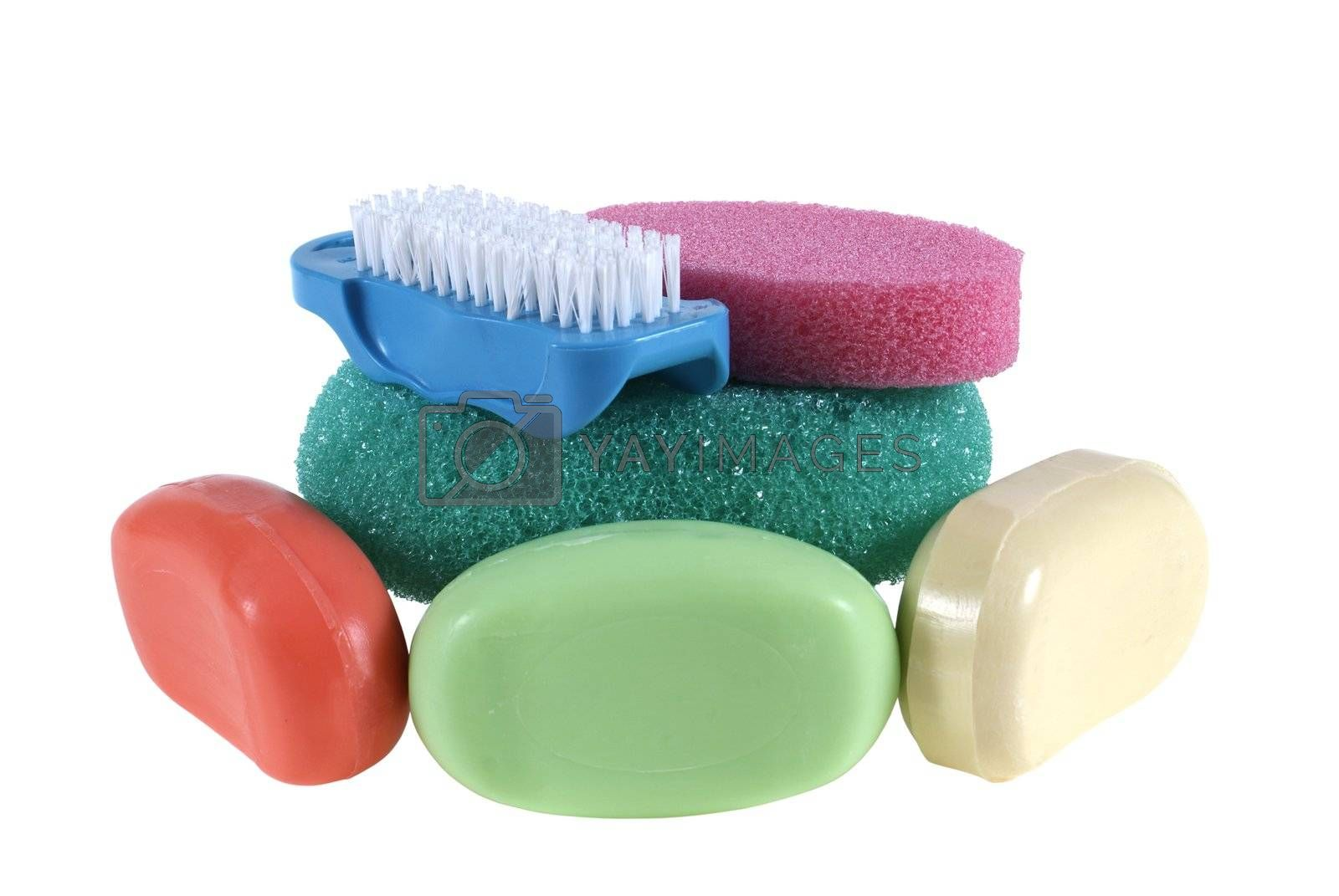 colorful soap with sponge and brush isolated on the white background