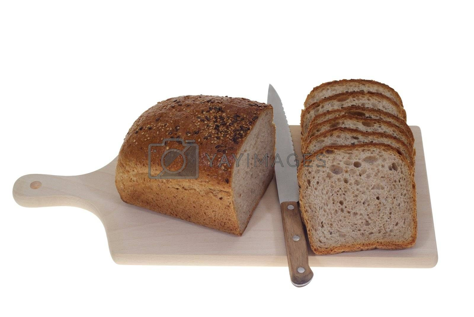 half of bread and slice of bread isolated on white background