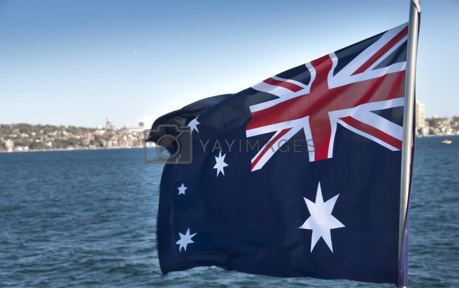 Australian Flag in Sydney Bay by jovannig