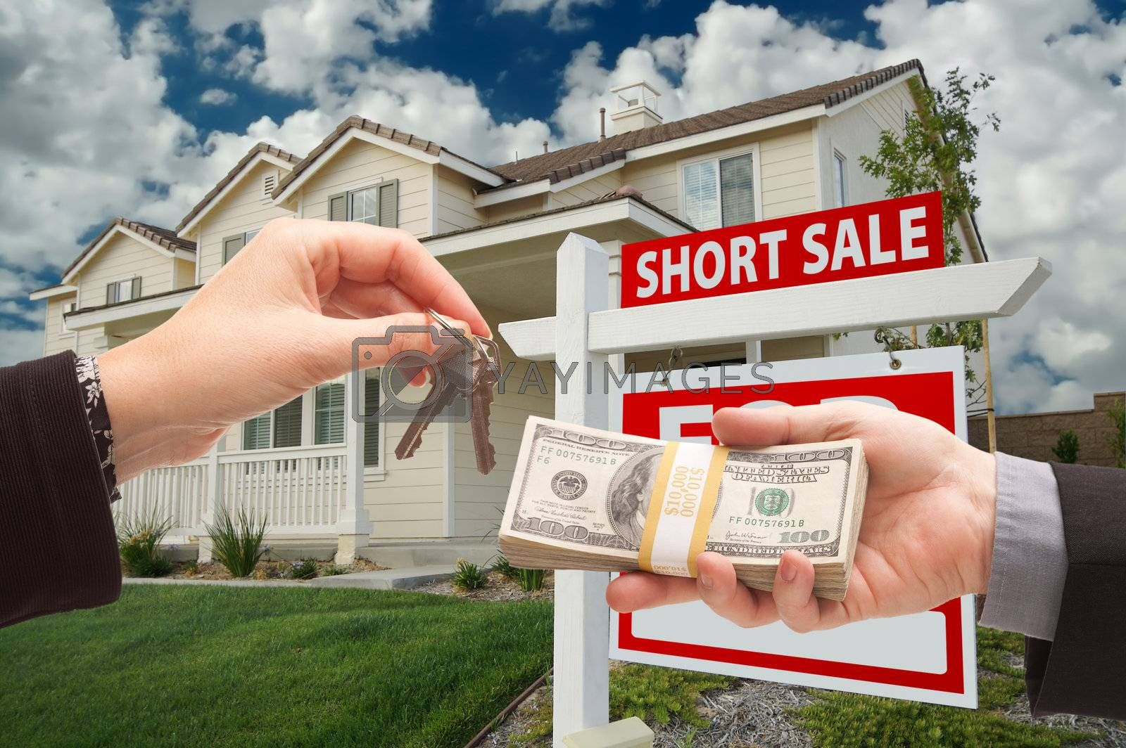 Handing Over Cash For House Keys and Short Sale Sign by Feverpitched