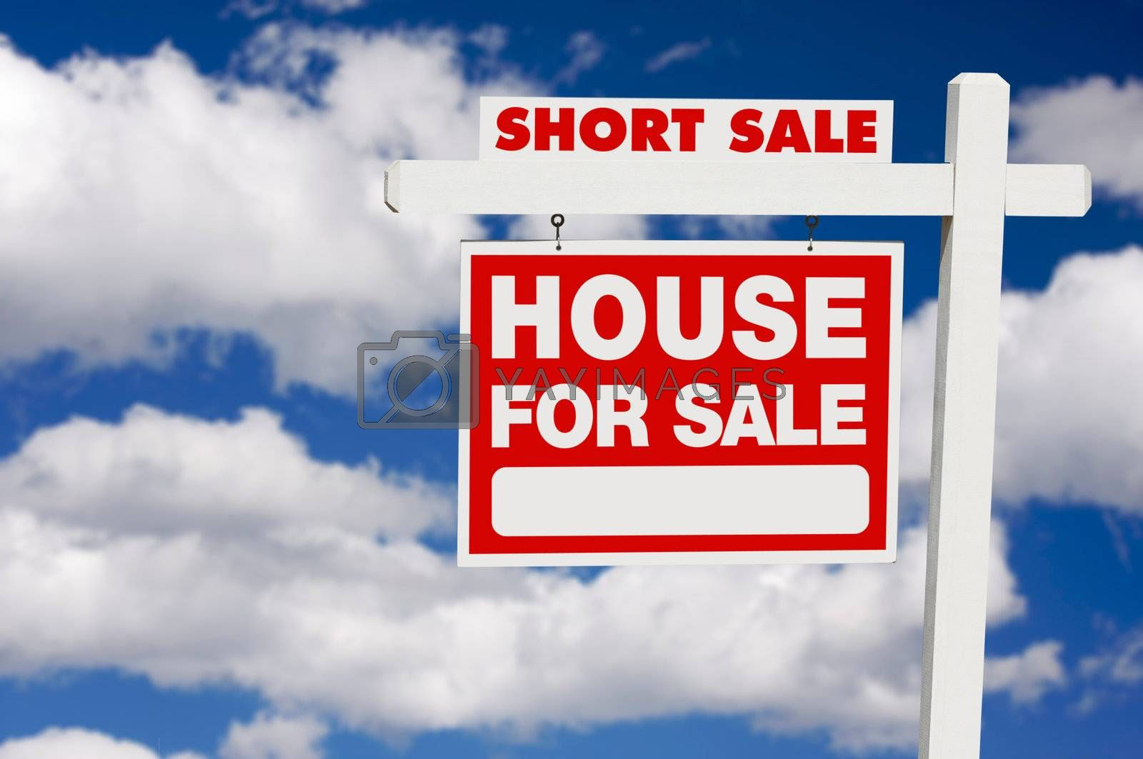 Short Sale Real Estate Sign on Clouds by Feverpitched
