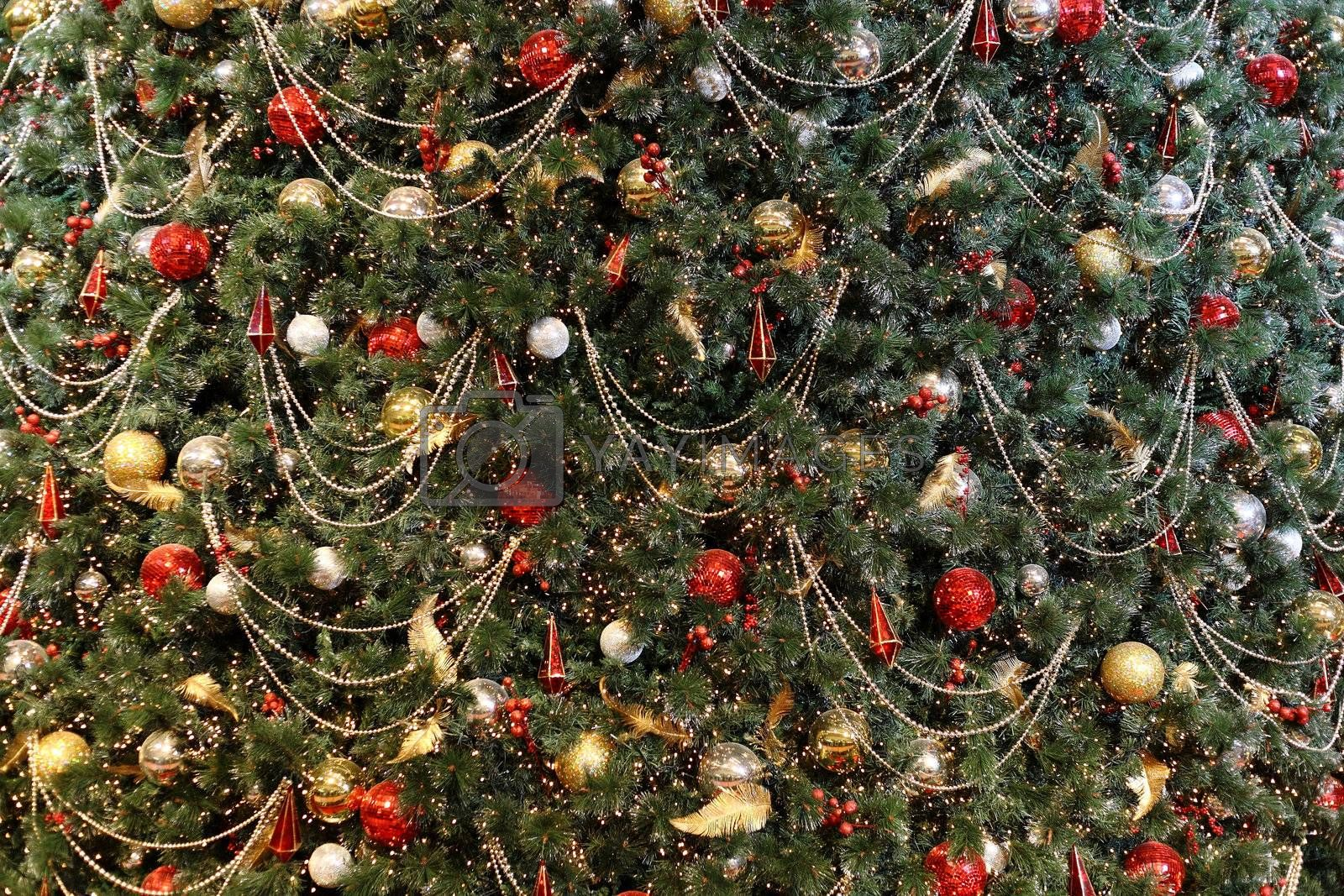 Royalty free image of Christmas tree background by leungchopan