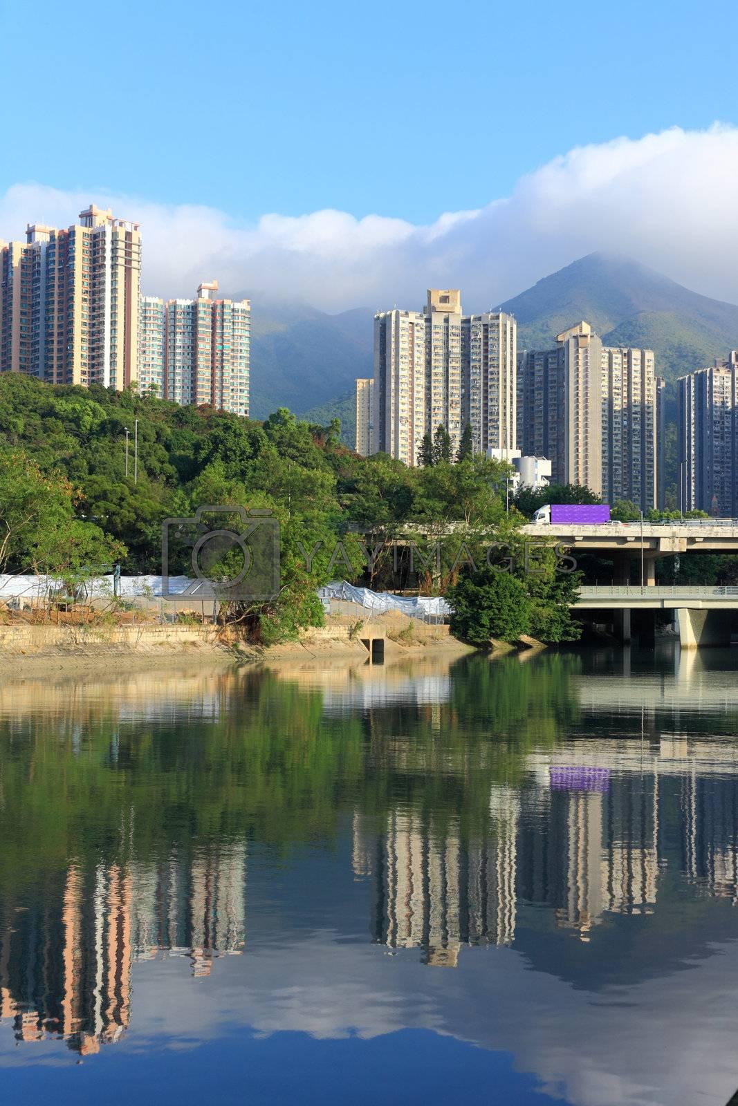 hong kong pubilc housing and river by leungchopan