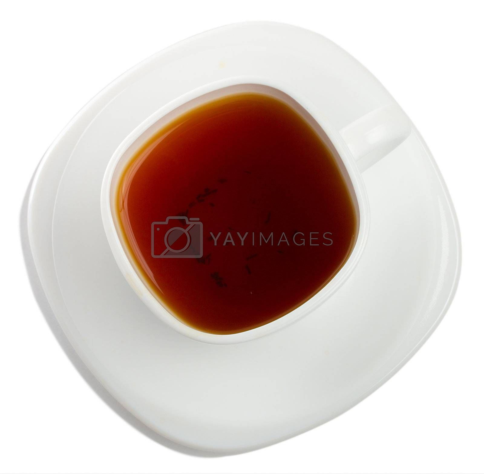 close-up cup of rooibos tea, isolated on white