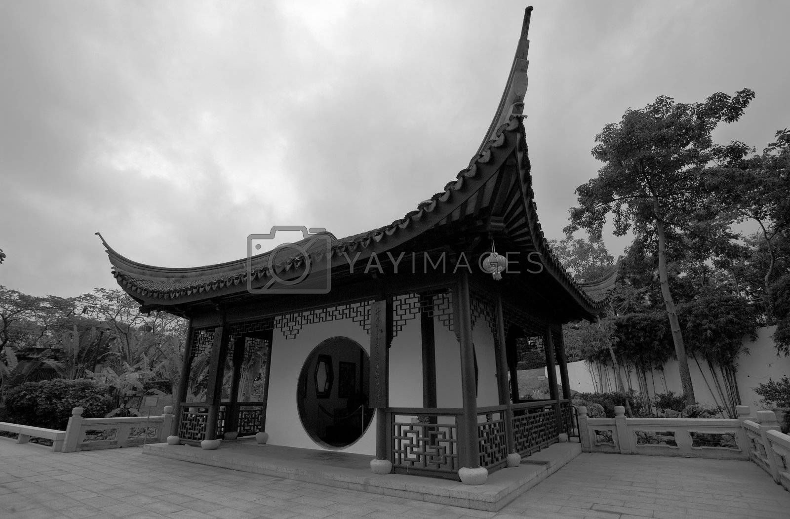 Royalty free image of hinese hut with nice roof by leungchopan
