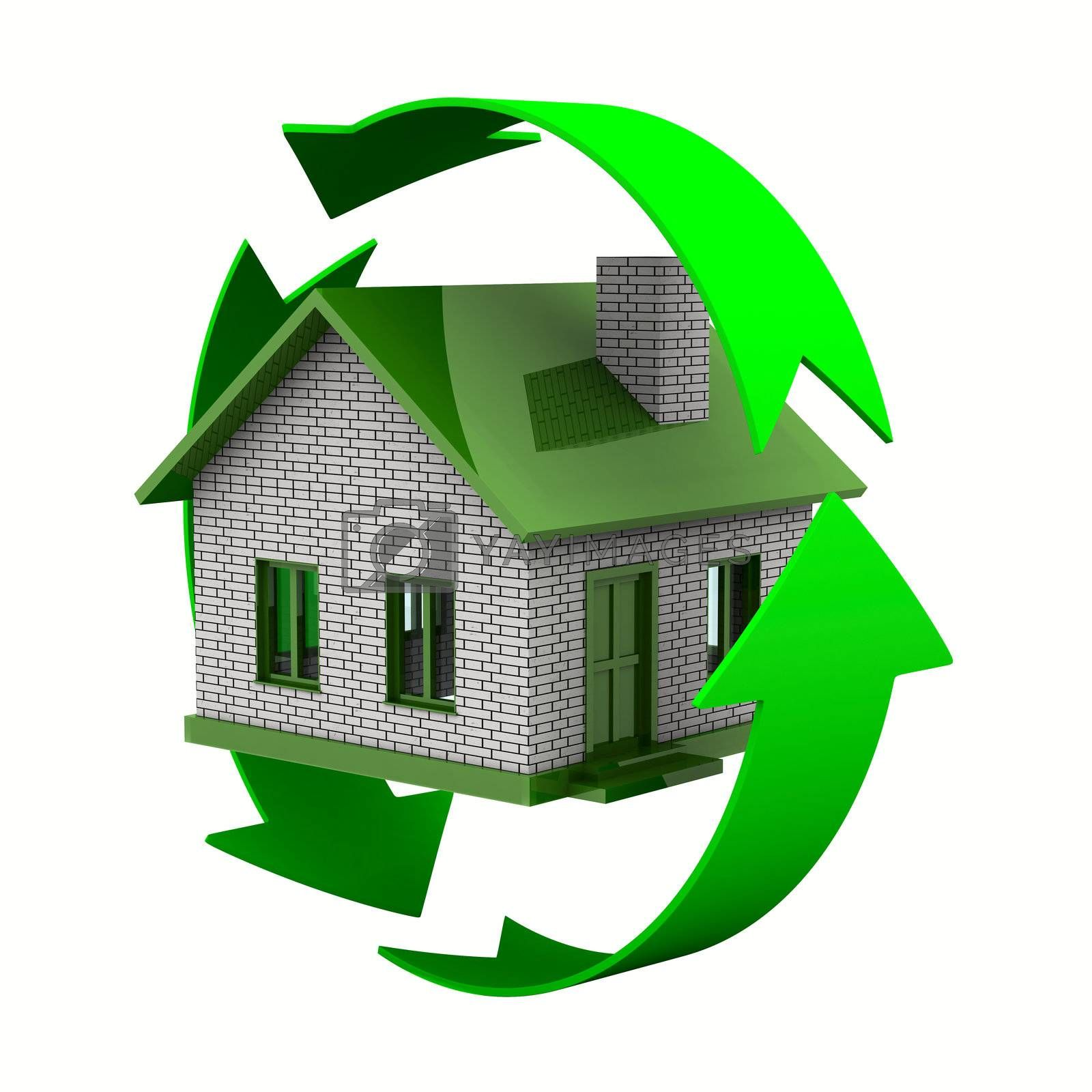 ecological house. Isolated 3D image on white by ISerg