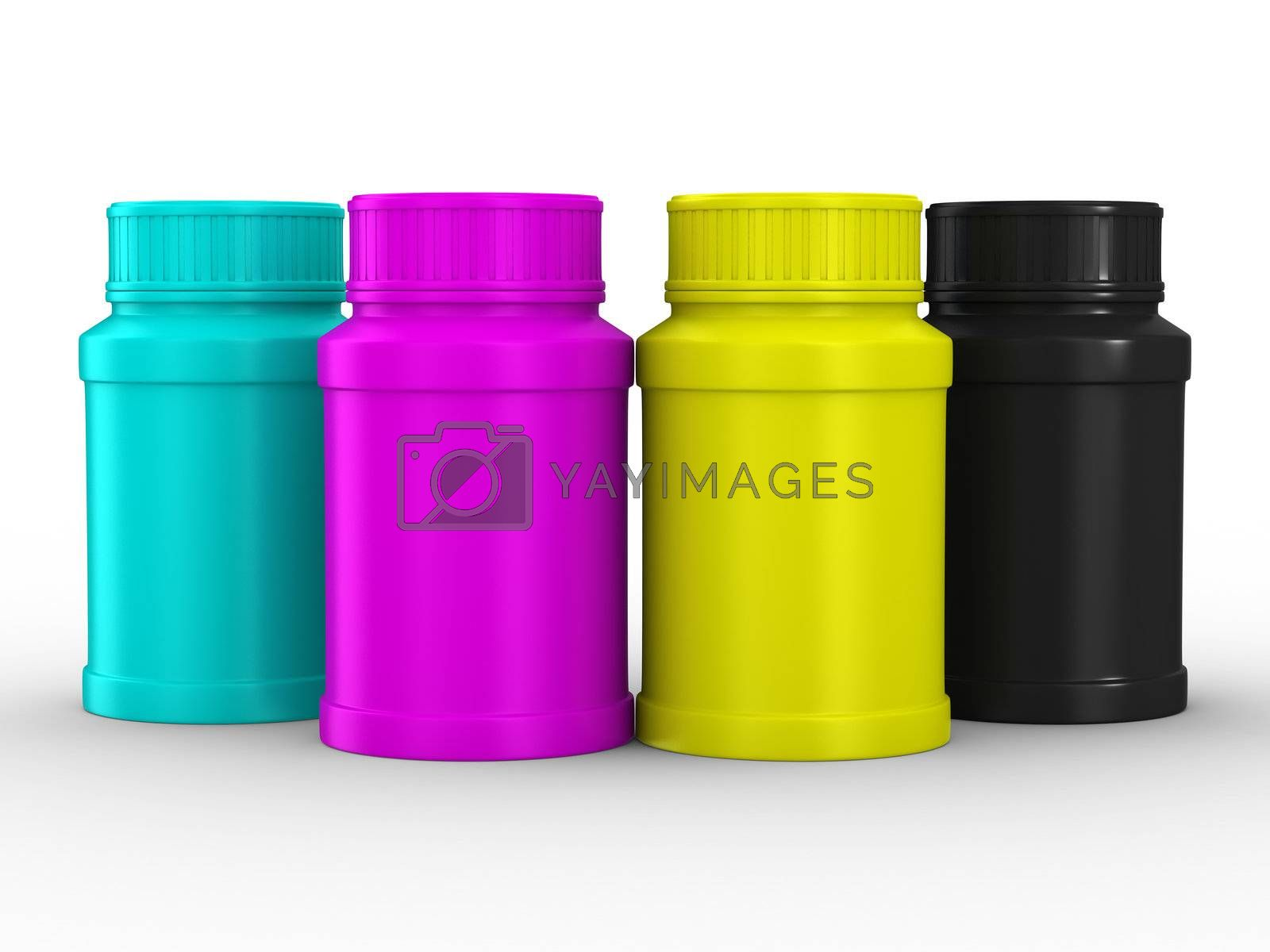 Bottle for tablets. CMYK. Isolated 3D image by ISerg