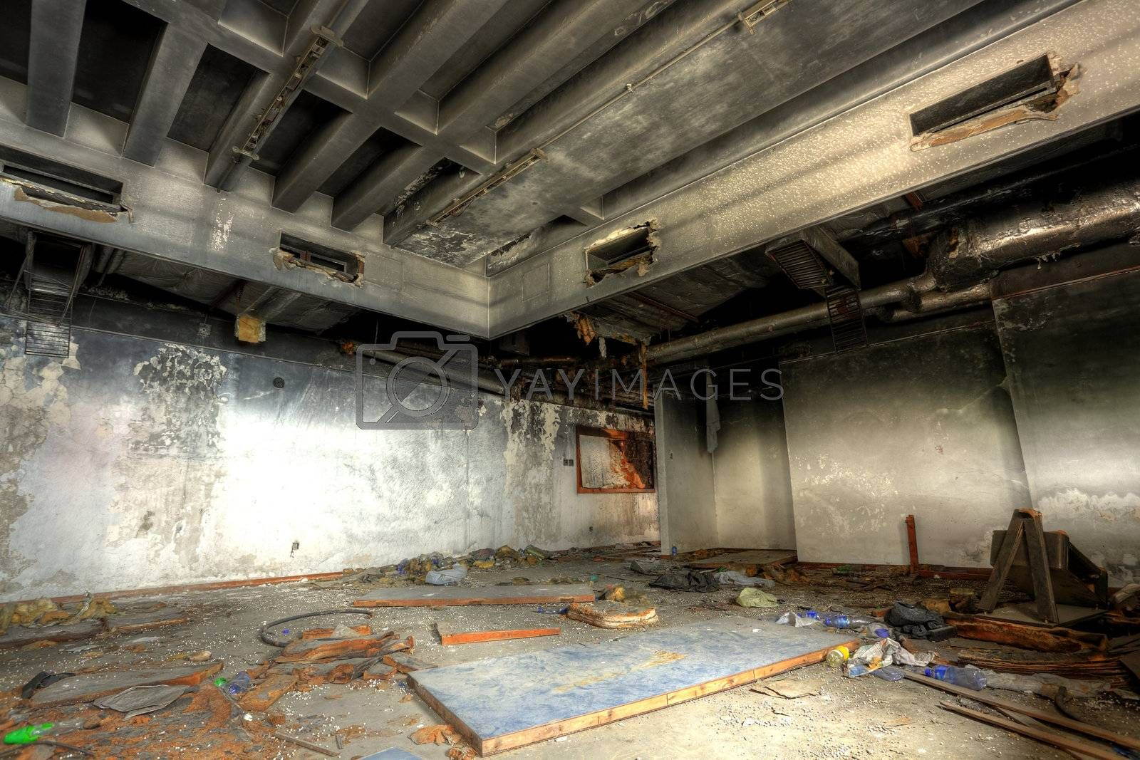 Royalty free image of discarded building, indoor by leungchopan