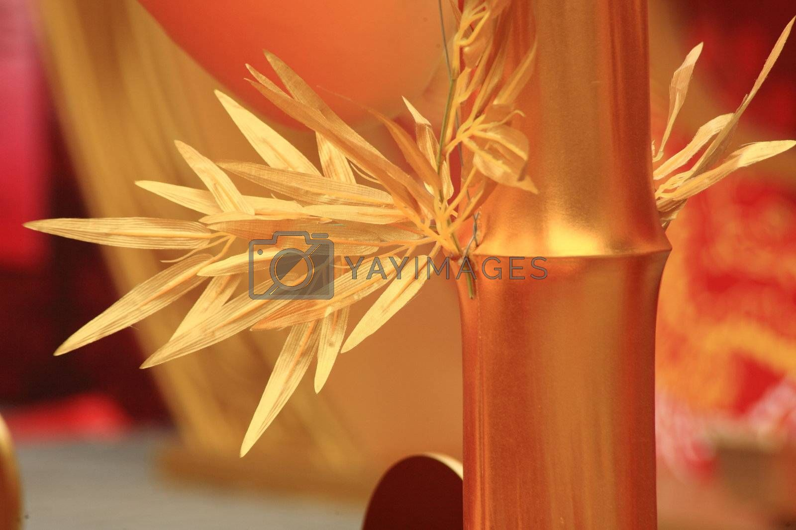 chinese new year scene, man-made golden bamboo by leungchopan