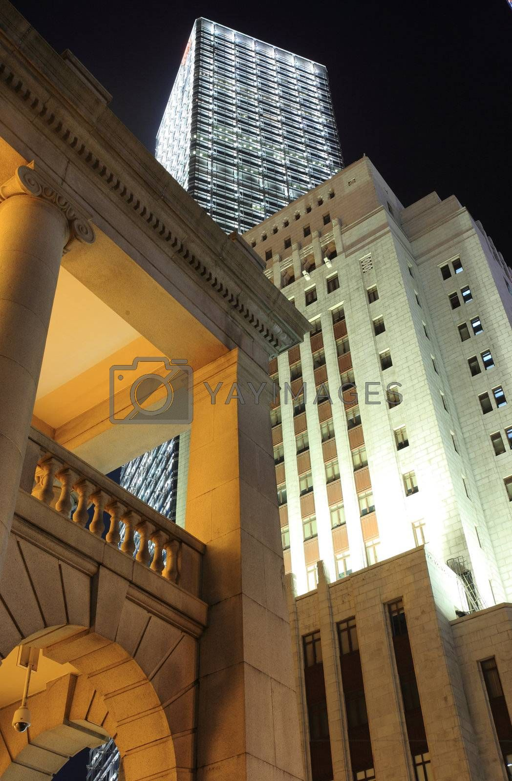 Hong Kong At Night with old and new buildings by leungchopan