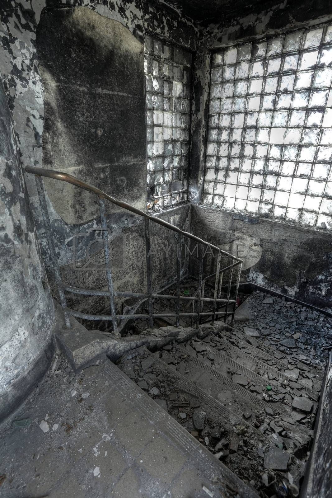 High Dynamic Range Image of a Burned Out building, stair by leungchopan