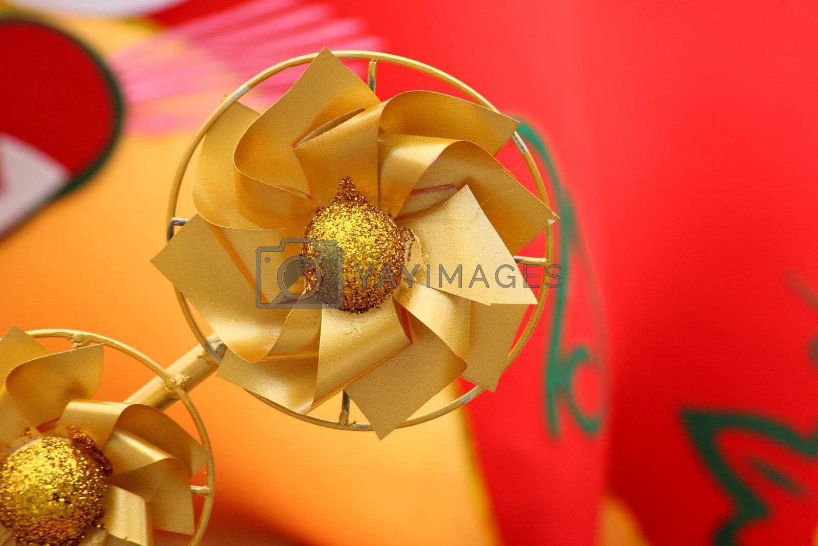 chinese new year scene, golden windmill by leungchopan