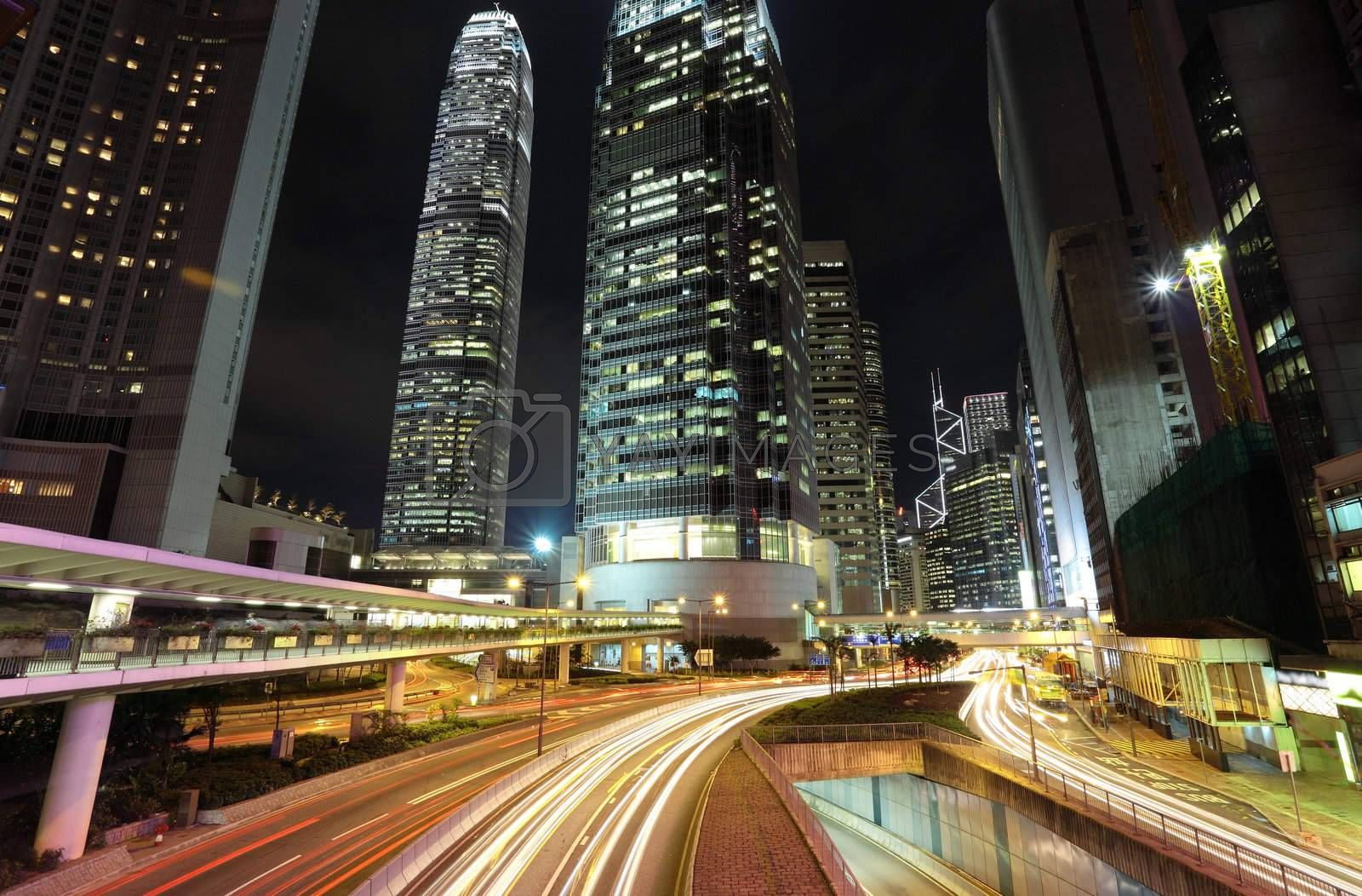 traffic through downtown in Hong kong by leungchopan