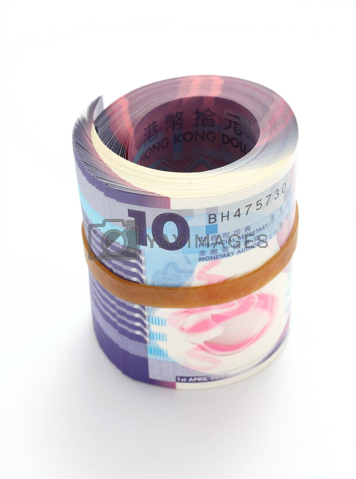 Royalty free image of roll of Hong Kong $10 note by leungchopan