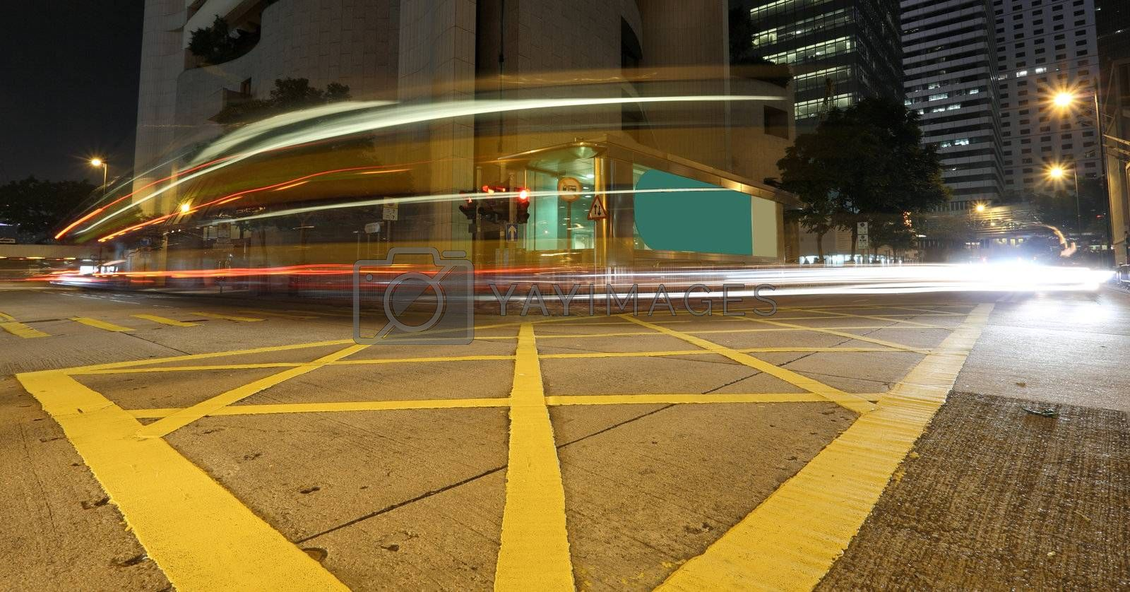 Fast moving bus at night by leungchopan