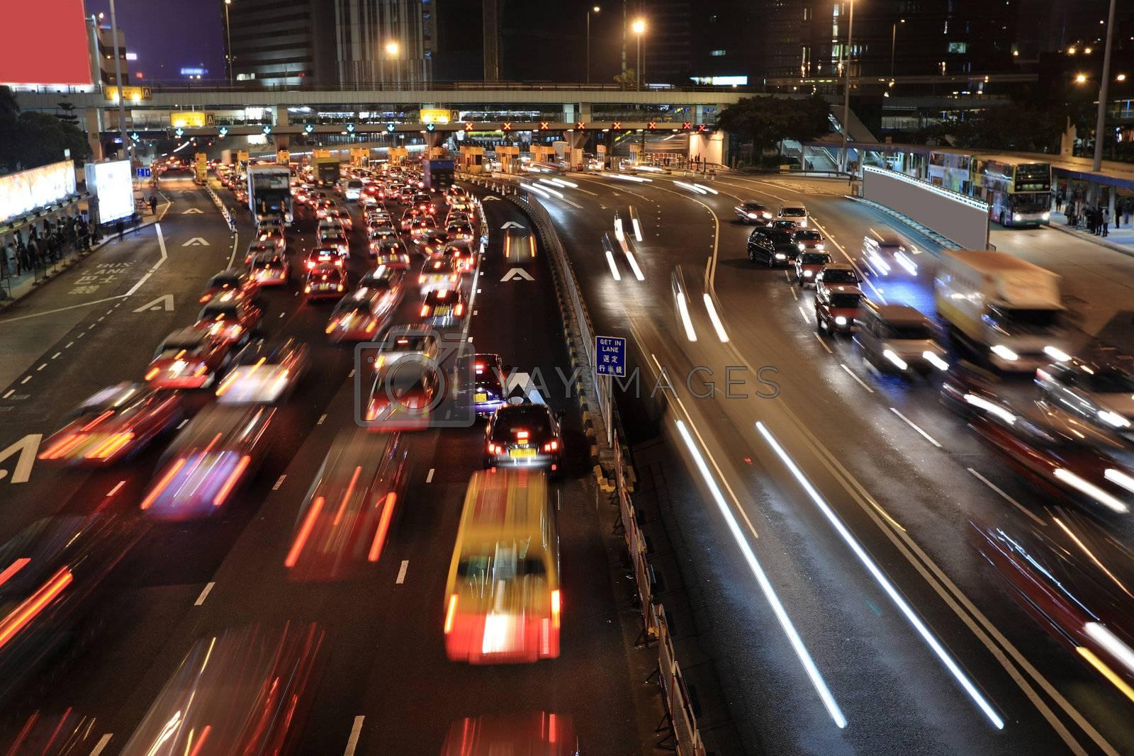 Traffic jam in Hong Kong at night  by leungchopan