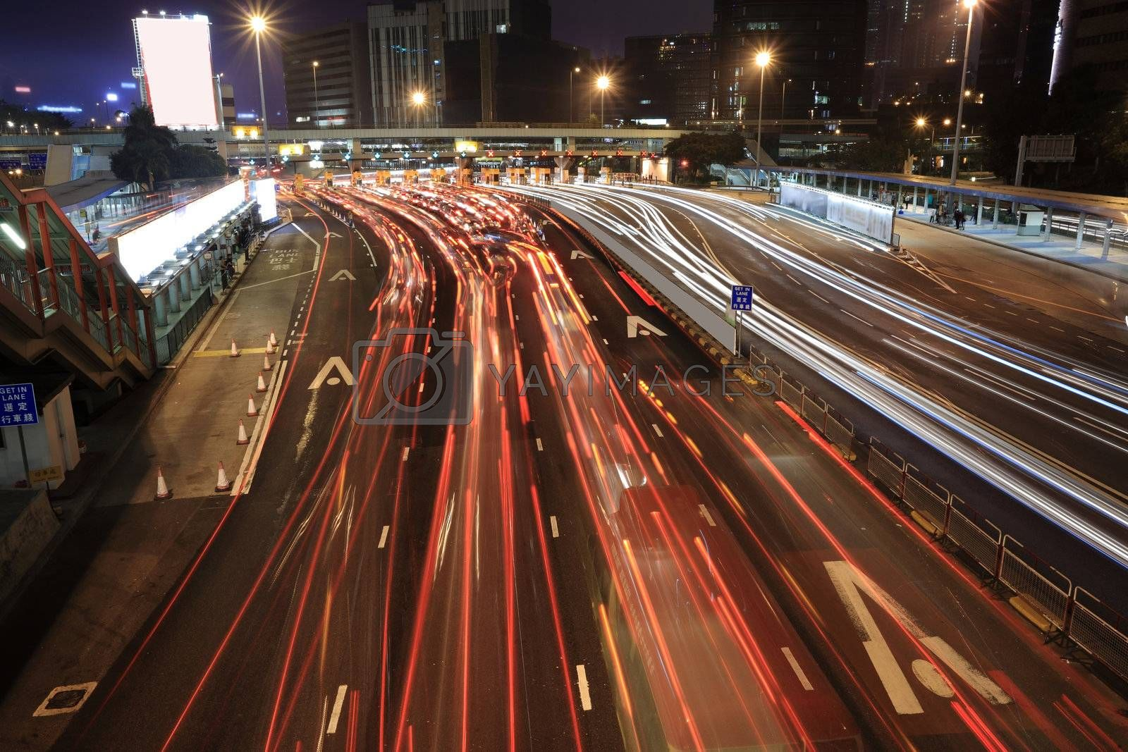 Traffic jam in Hong Kong at night by leungchopan