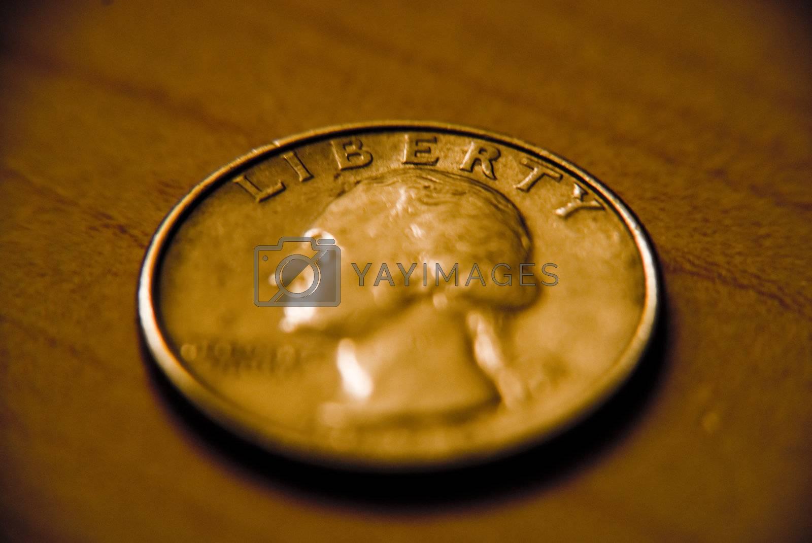 Closeup of a coin