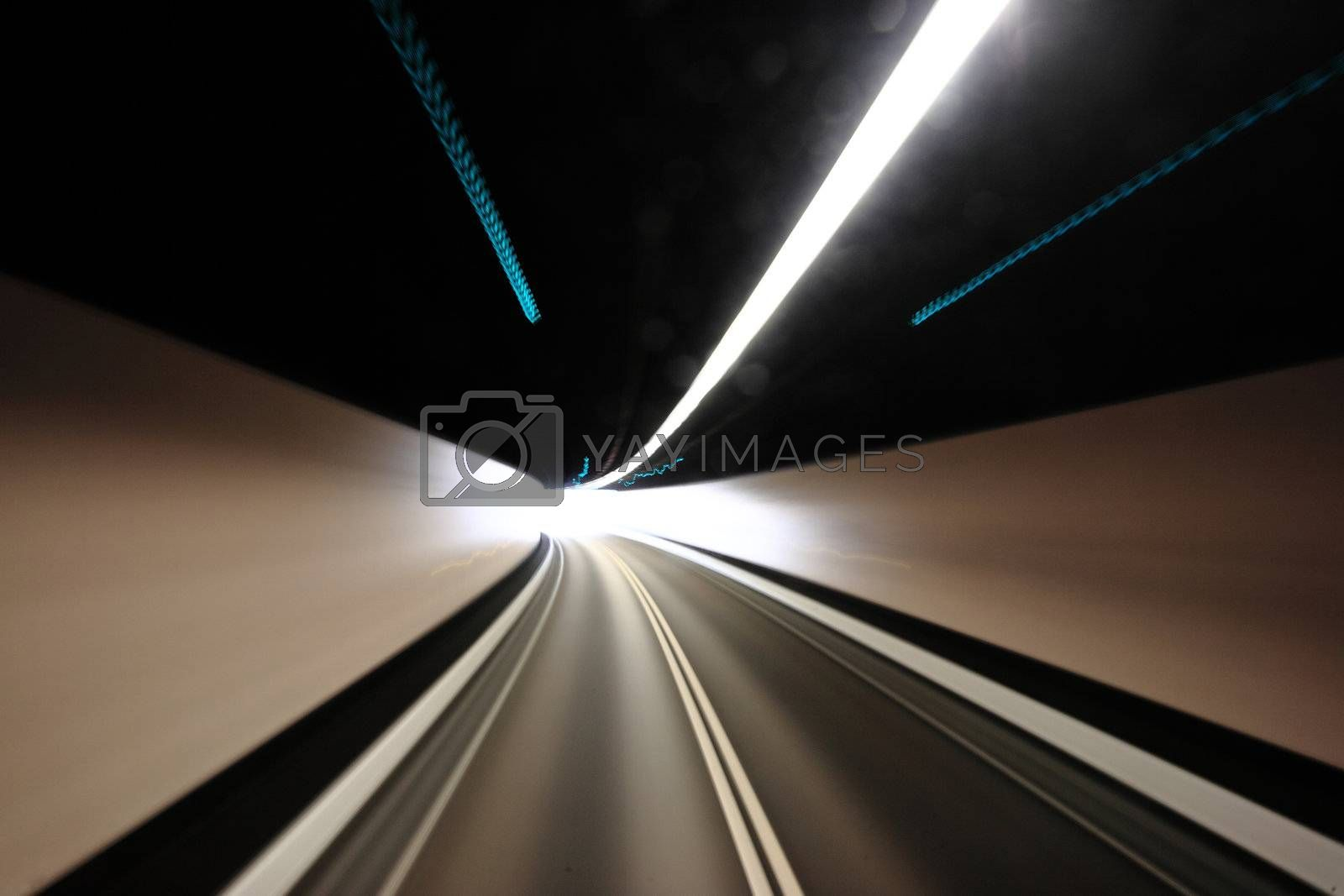 Royalty free image of highway tunnel , motion blured by leungchopan