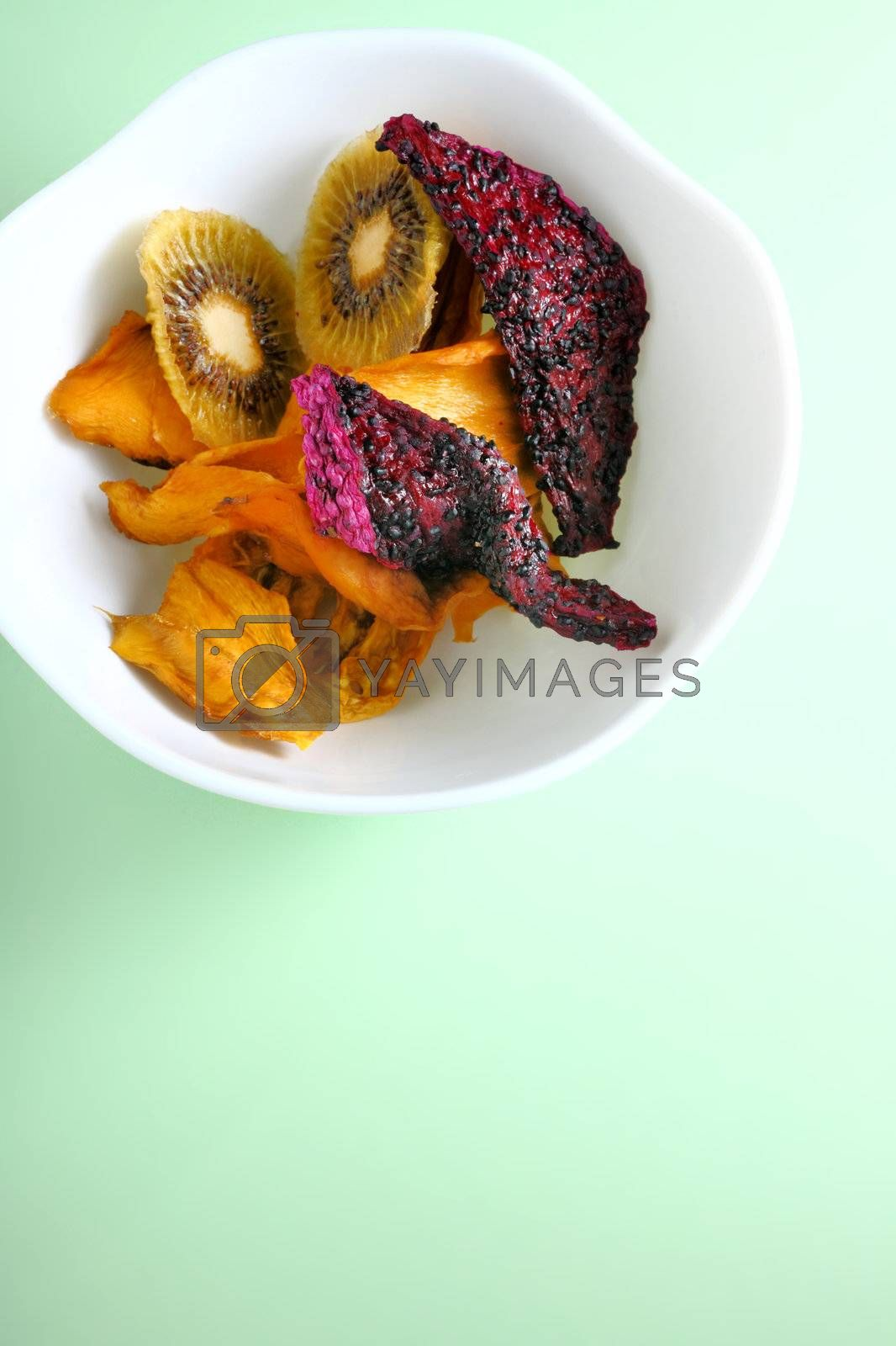 Royalty free image of Dried Fruits in a blow by leungchopan