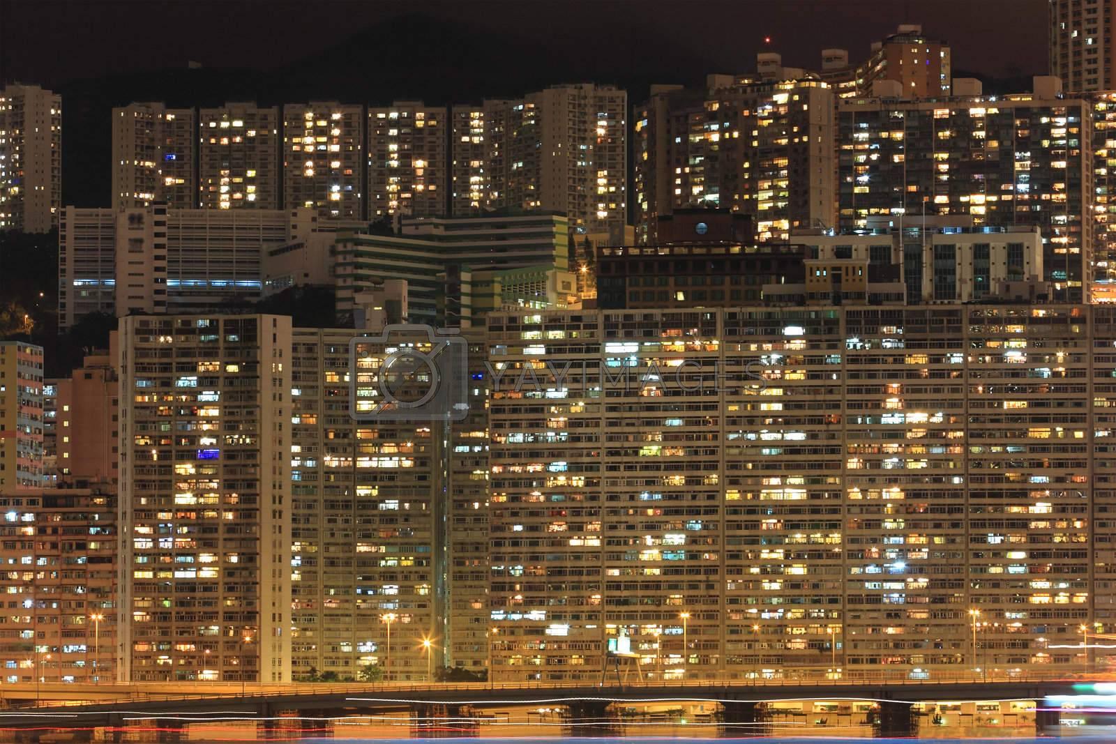 Royalty free image of Hong Kong cityscape at night by leungchopan