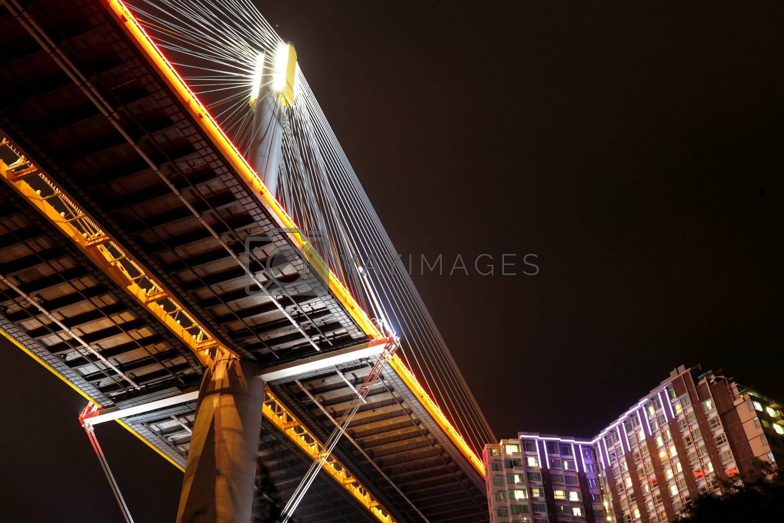 Royalty free image of Ting Kau Bridge at night, Hong Kong by leungchopan