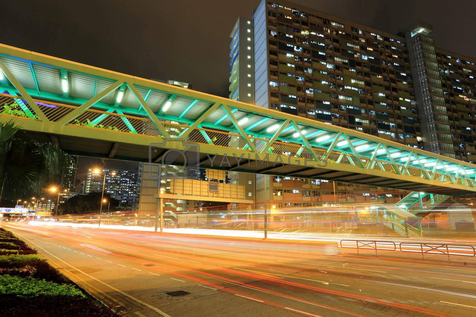 Royalty free image of Traffic in Hong Kong at night  by leungchopan
