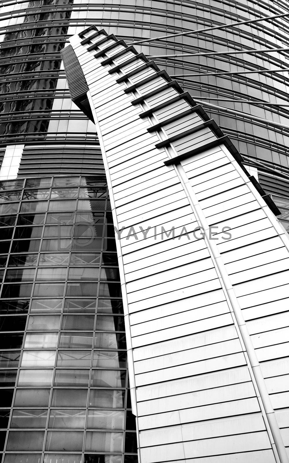 Royalty free image of business building exterior, blaack and white by leungchopan