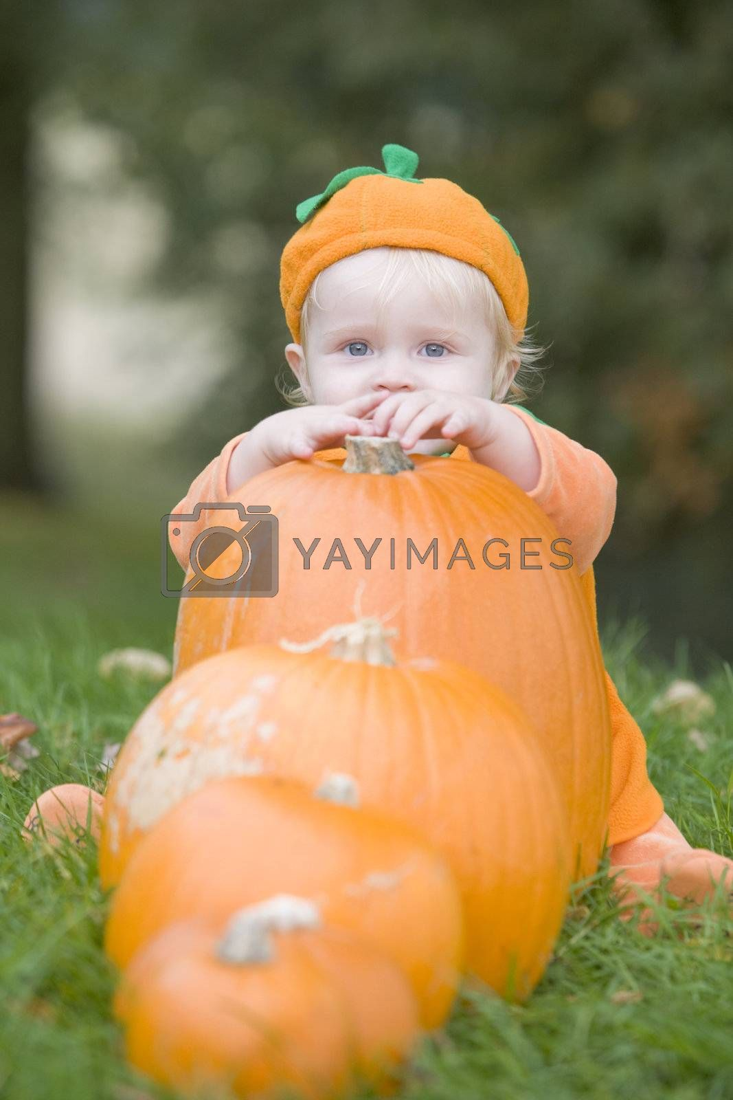 Baby boy outdoors in pumpkin costume with real pumpkins by MonkeyBusiness