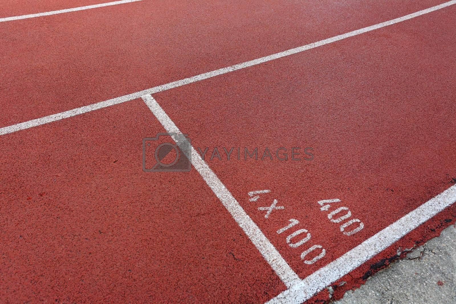 Royalty free image of start point on running track by leungchopan