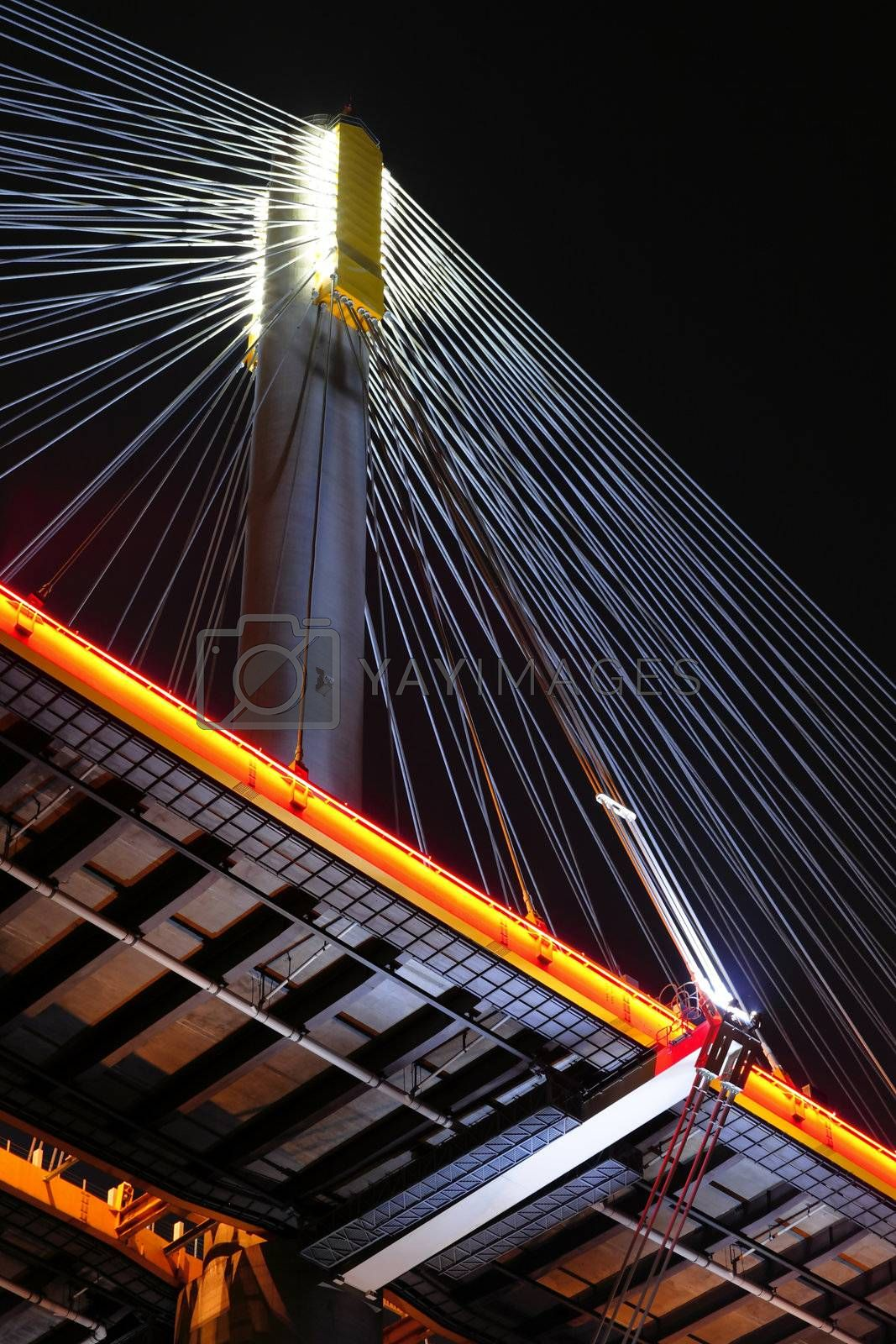 Royalty free image of Ting Kau Bridge at night, in Hong Kong by leungchopan