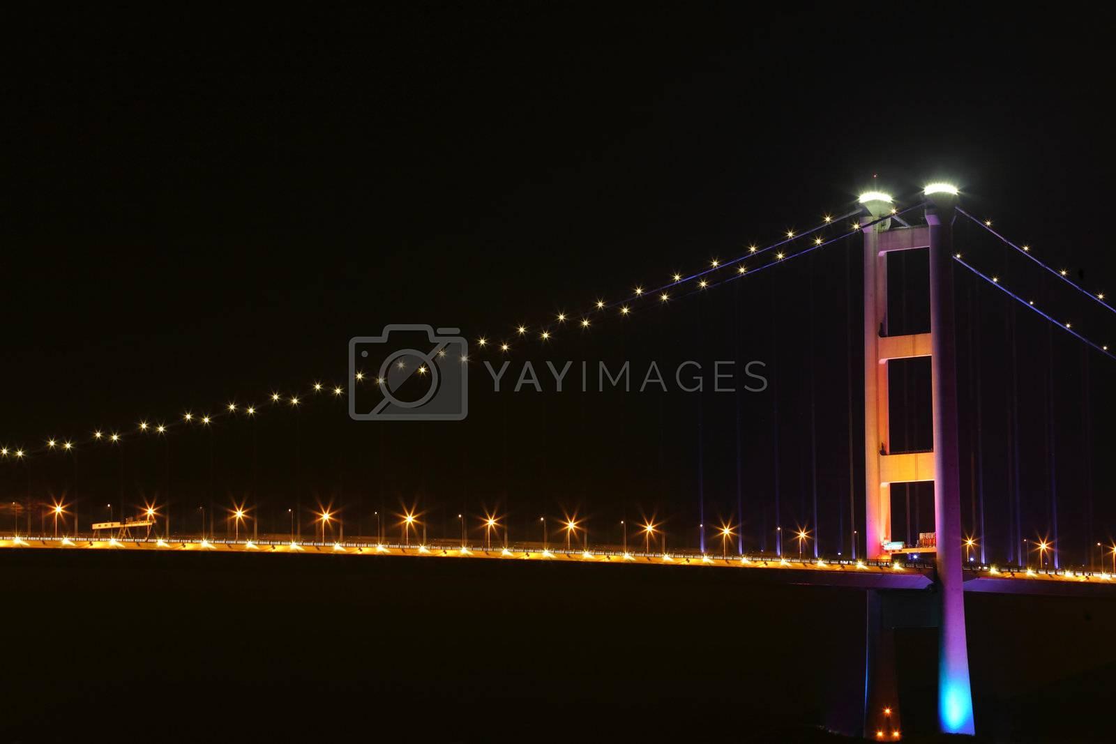 Royalty free image of Tsing ma bridge at night, Hong Kong by leungchopan