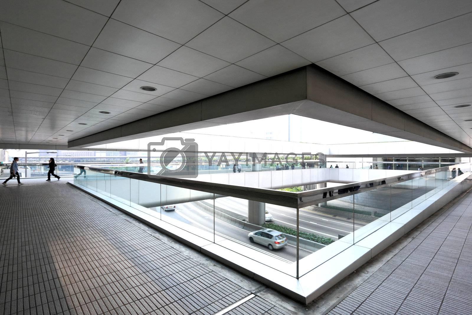 Royalty free image of modern office corridor by leungchopan
