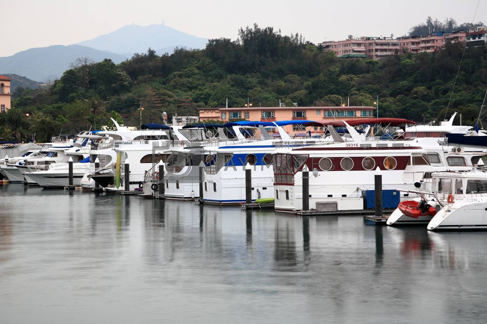 Royalty free image of Some yachts in port by leungchopan